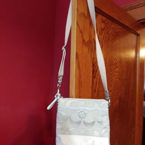Coach crossbody in gray and silver